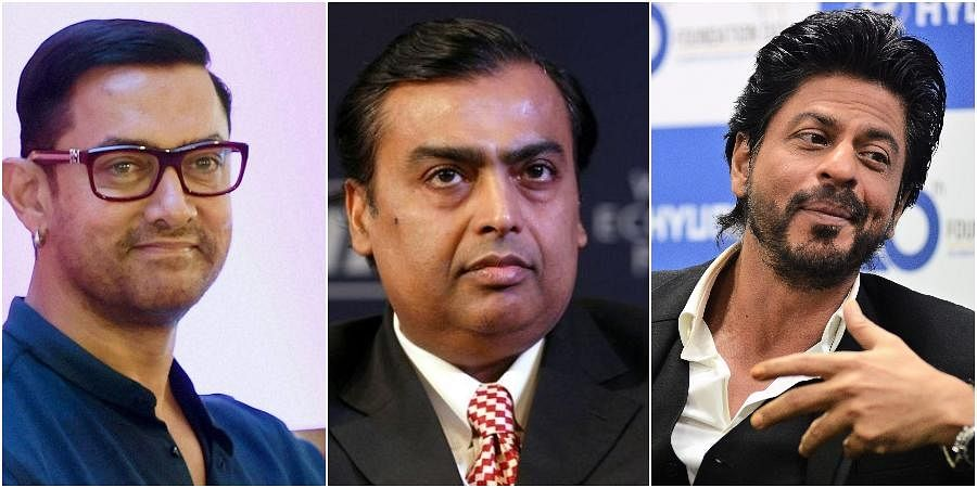 (From L to R) Actor Aamir Khan., Businessman Mukesh Ambani and actor Shah Rukh Khan