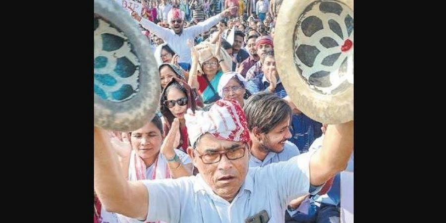 Guwahati residents protest against the CAA in Jalukbari area on Wednesday.