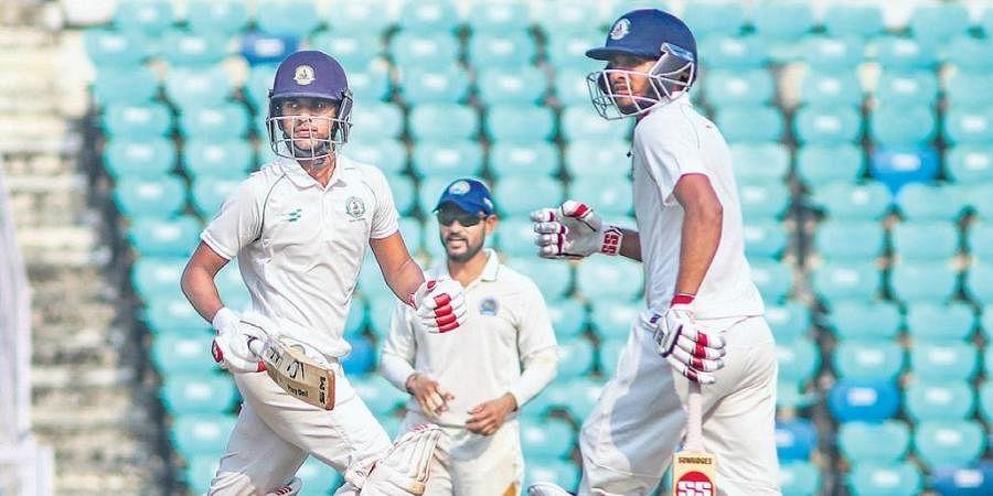 hit Kale (left) and Akshay Wadkar scored centuries as defending champions Vidarbha posted 510/8 in their first innings against Rajasthan in Nagpur