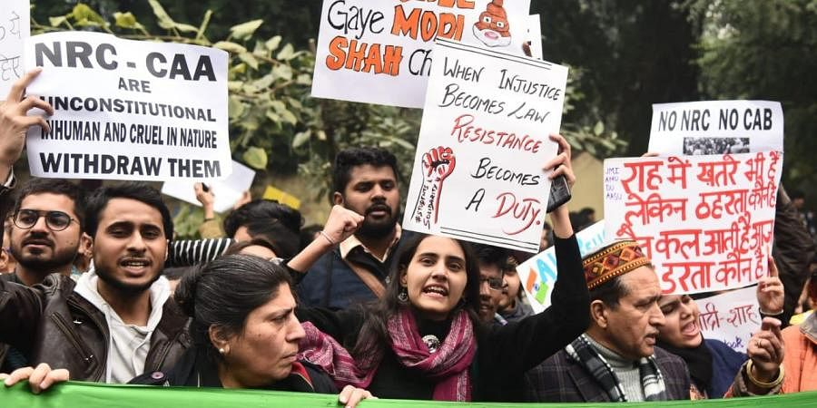 Students protesting against the CAA at Jantar mantar area in New Delhi