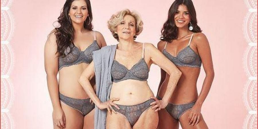 Helena Schargel strike a pose during the photoshoot of a lingerie collection for the elderly.