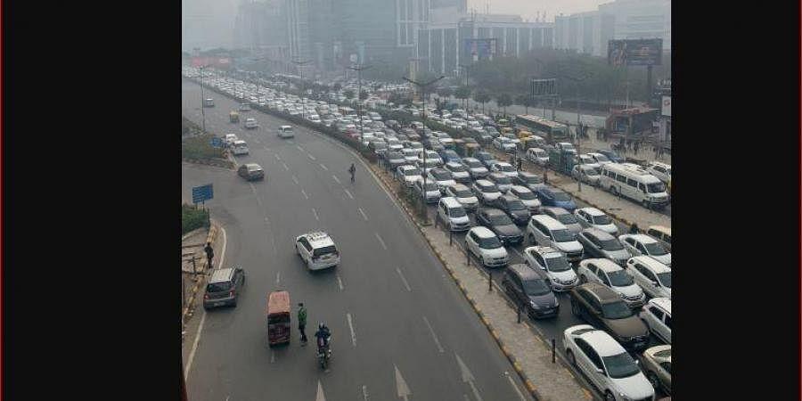 Traffic at Delhi-Gurugram Expressway