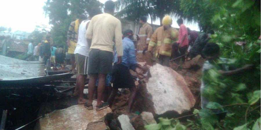 Rescue operations underway in Mettupalayam after three houses collapsed due to heavy rains.