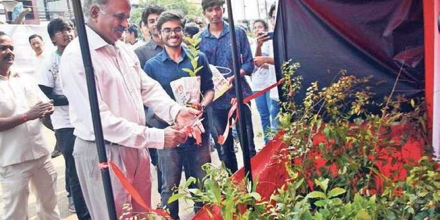 Director, IIT-Bhubaneswar, Prof RV Raja Kumar inaugurating a plant distribution programme by the institute's students in Bhubaneswar on Sunday