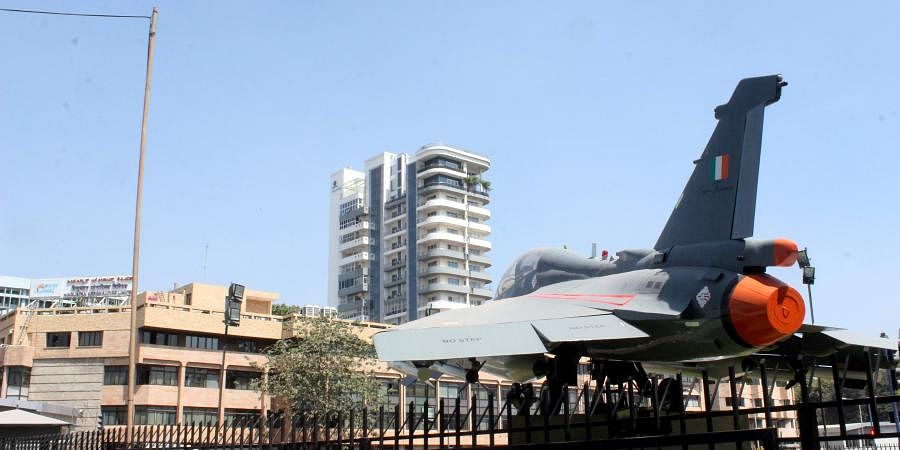 A plane in the circle opposite to Hindustan Aeronautics Limited Head Quarters in Bengaluru. | (File | EPS)