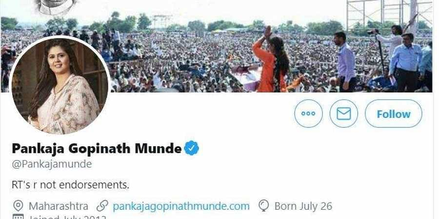 Screengrab of Pankaja Munde Twitter Account.