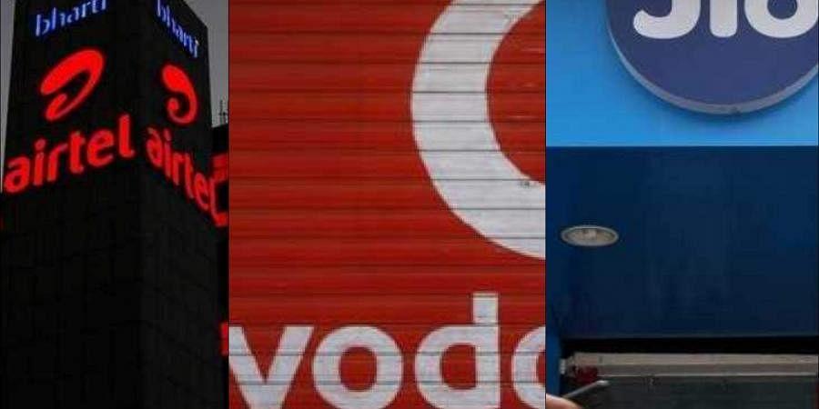 Telecom companies Bharti Airtel, Vodafone Idea and Reliance Jio