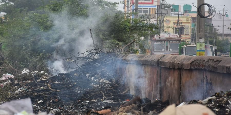 Smoke emanating from garbage at Ajith Singh Nagar dump yard