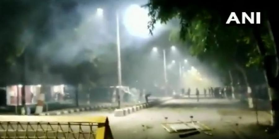 Clashes erupted between students and cops outside Aligarh Muslim University.