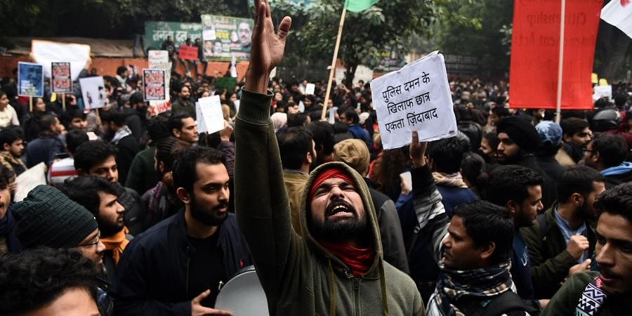 Protestors hold placards and raise slogans during an anti-Citizenship Act protest at Jantar Mantar in New Delhi on Thursday Dec. 19 2019. (Photo | Parveen Negi/EPS)