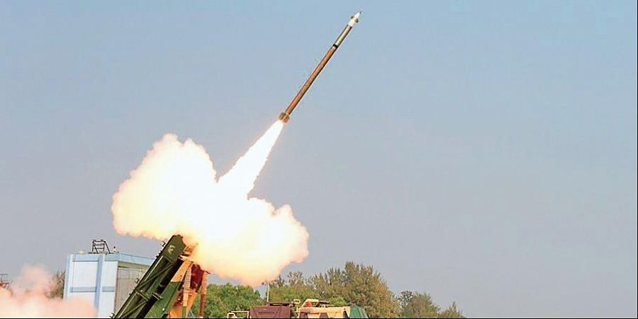 Pinaka guided missile being test fired.