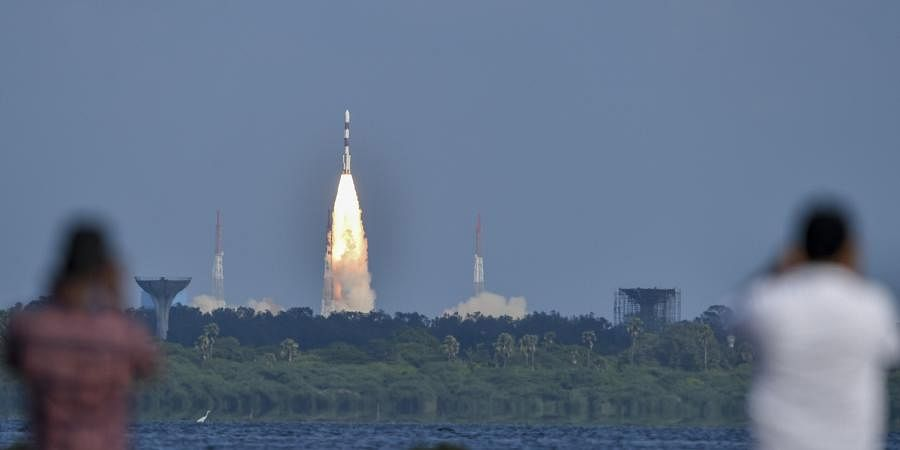 ISRO's workhorse rocket PSLV-C48 carrying India's radar imaging earth observation satellite RISAT-2BR1 and nine foreign satellites blast off from the spaceport in Sriharikota Wednesday Dec. 11 2019. (Photo | PTI)