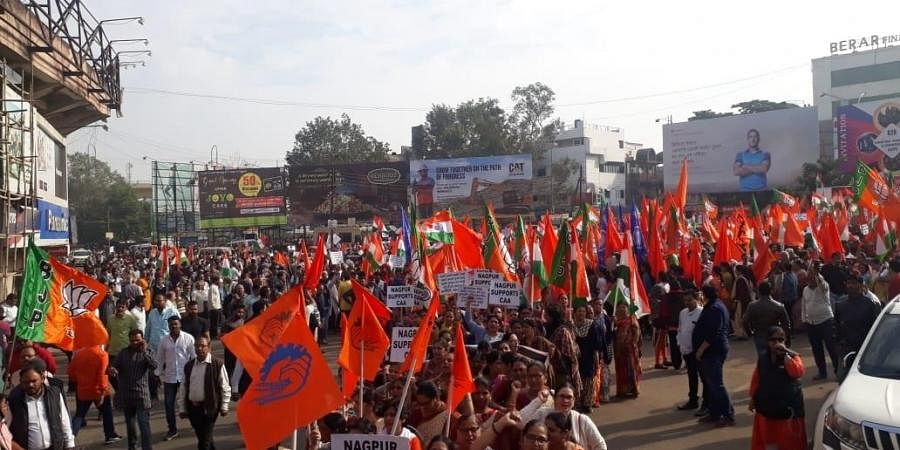 A rally by Lok Adhikar Manch, BJP, RSS and other organizations in support of the Citizenship Amendment Act organized in Nagpur on Sunday