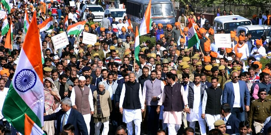 Chief Minister of Rajasthan Ashok Gehlot during a protest rally against the Citizenship Amendment Act 2019 and NRC, in Jaipur on Sunday.