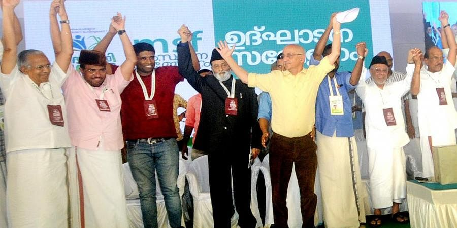 Writer Harsh Mander addresses the MSF conference in Kozhikode on Saturday. Adv Zafaryab Jilani and Panakkad Hyderali Shihab Thangal are also seen