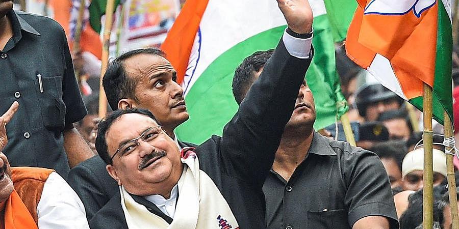 BJP Working President JP Nadda during Abhinandan Jatra in Kolkata