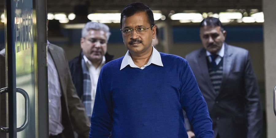 Delhi Chief Minister Arvind Kejriwal ahead of a press conference in New Delhi on Monday
