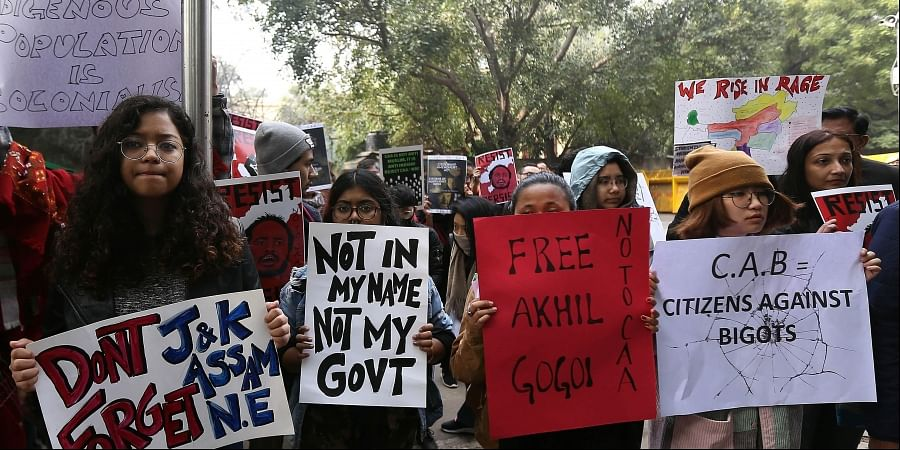 Demonstrators from the Northeast gather to stage a protest against the Citizenship Amendment Act at Jantar Mantar in New Delhi on Sunday. (Photo | EPS/Arun Kumar)