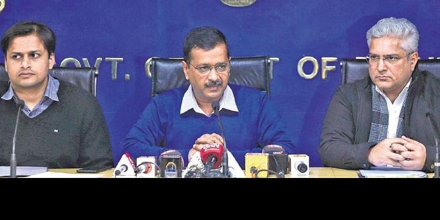 CM Arvind Kejriwal and Transport Minister Kailash Gahlot addresses a press conference on Monday.