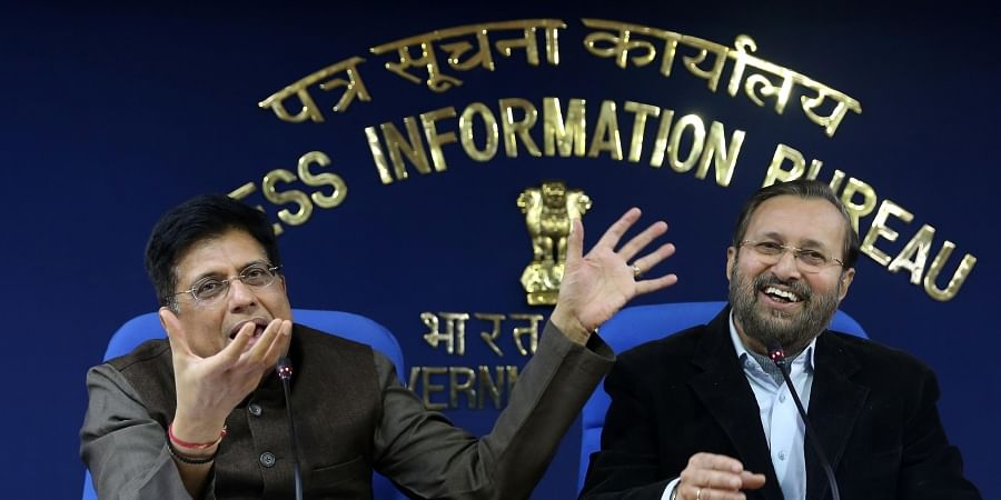 I B Minister Prakash Javadekar and Railways Minister Piyush Goyal during a press conference on Cabinet meeting in New Delhi on Tuesday Dec. 24 2019.