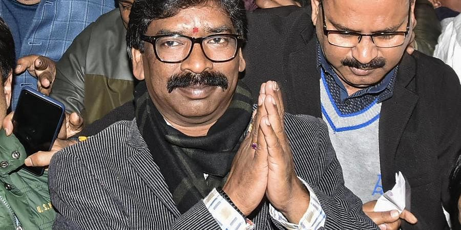 Jharkhand Mukti Morcha JMM working president Hemant Soren addresses a press conference as JMM and Congress alliance lead in the Jharkhand Assembly election results in Ranchi Monday Dec. 23 2019.