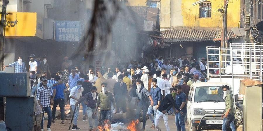 The photographs released by Mangaluru police showing protesters pelting stones in Mangaluru on December 19.