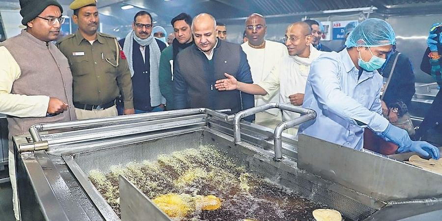 Delhi Deputy CM Manish Sisodia after inaugurating the foundation's new kitchen in New Delhi on Tuesday