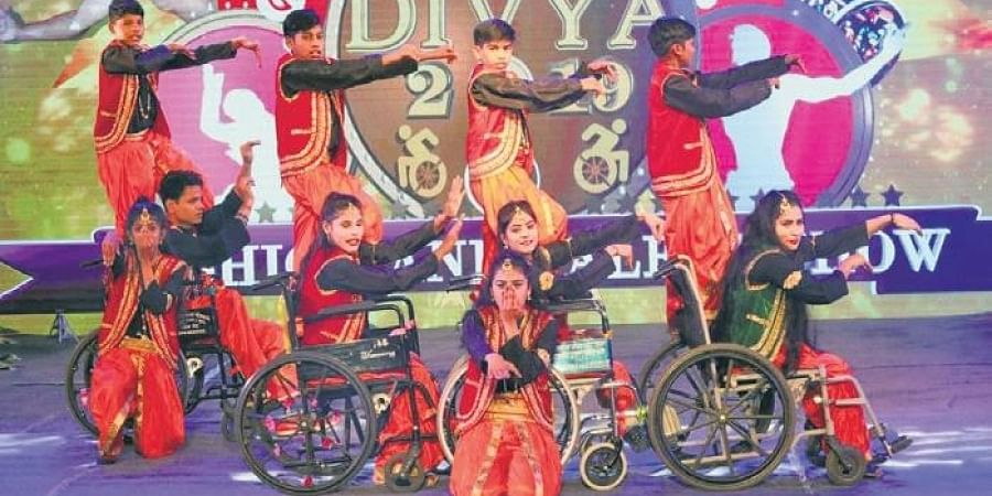 Differently-abled girls and boys put up a dance drama in 2018 in Chennai as part of the Divyang series.