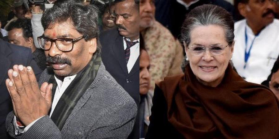 JMM leader Hemant Soren (L) and Sonia Gandhi