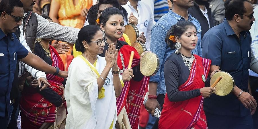TMC Supremo and West Bengal chief minister Mamata Banerjee leads a protest rally against the amended Citizenship Act and NRC in Kolkata Tuesday Dec. 24 2019. (Photo | PTI)