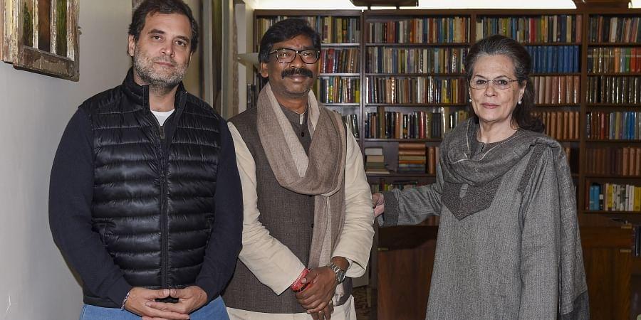 Jharkhand Chief Minister-designate Hemant Soren meets Congress interim President Sonia Gandhi and party leader Rahul Gandhi at Sonia's residence in New Delhi, Wednesday, Dec. 25, 2019.
