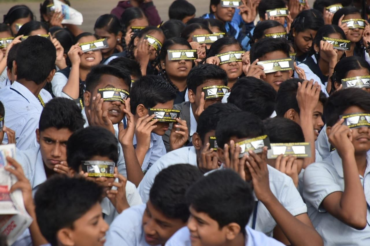 Special arrangements were made at various places, including New Delhi, Karnataka's Bengaluru and Tamil Nadu's Chennai to view the sun.