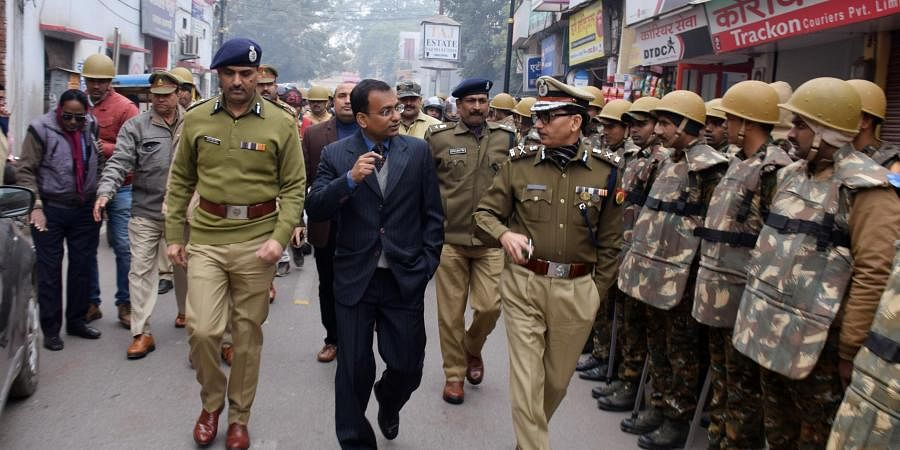 Senior police officers conducting a rousing march as security system tight up in Varanasi