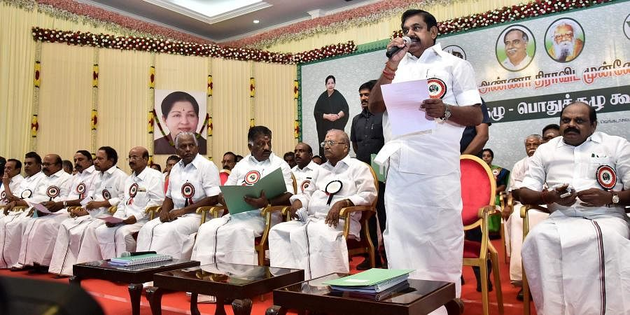 AIADMK Joint Co-Ordinator Edapadi K Palaniswami speaks at the party general body meeting held on Sunday in Chennai.