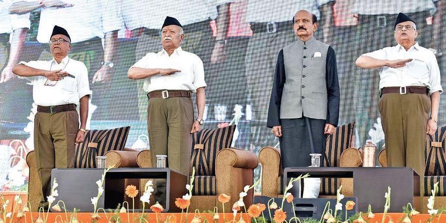 RSS chief Mohan Bhagwat on the second day of 'Vijaya Sankalpa Sibiram' in Hyderabad on Wednesday.