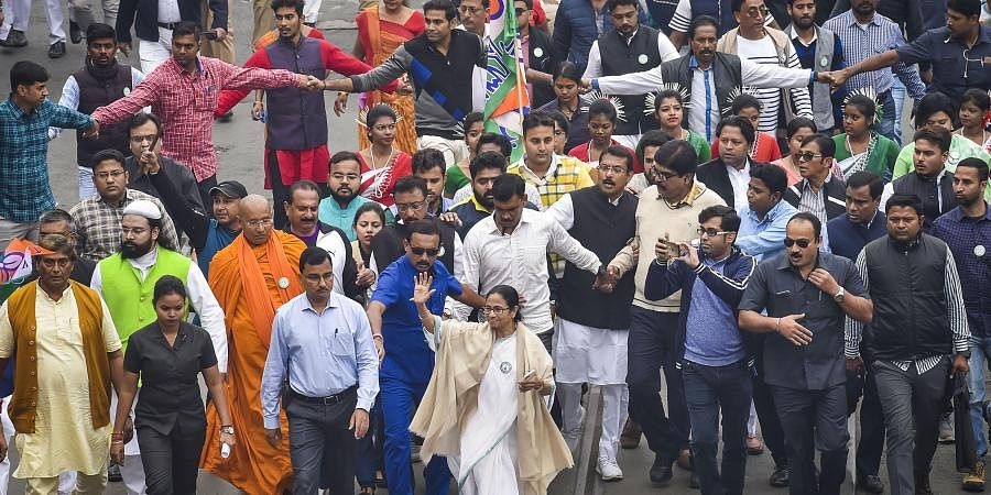 TMC Supremo and West Bengal Chief Minister Mamata Banerjee leads a protest rally against amended Citizenship Act and NRC in Kolkata Thursday