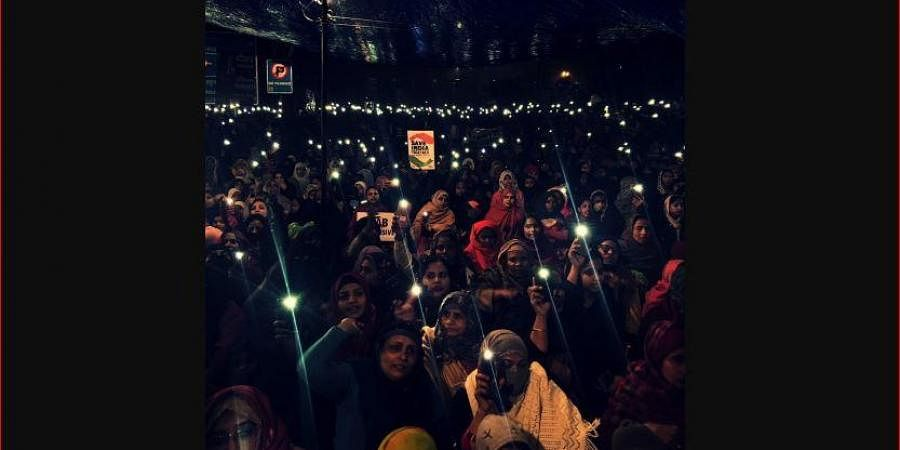 Women protesting against CAA in Shaheen Bagh.