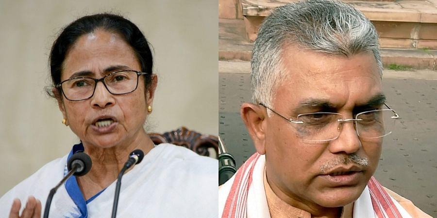 West Bengal CM Mamata Banerjee (L) and BJP leader Dilip Ghosh