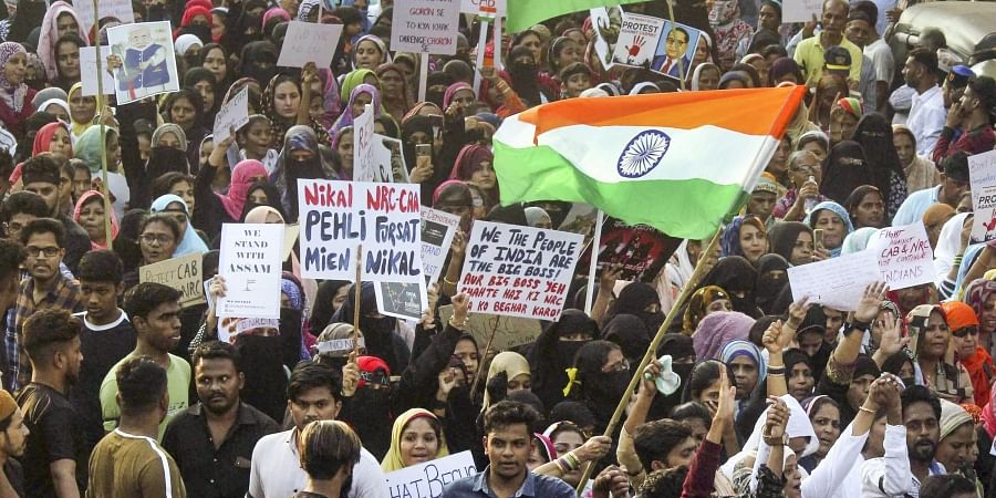 Muslim community people participate in the protest rally against the Citizen Amendment Act CAA at Malvani Malad in Mumbai Thursday Dec 26 2019. (Photo | PTI)