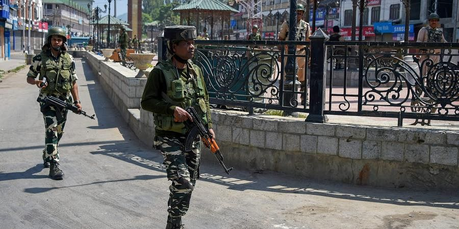 Security forces patrolling Kashmir Valley.