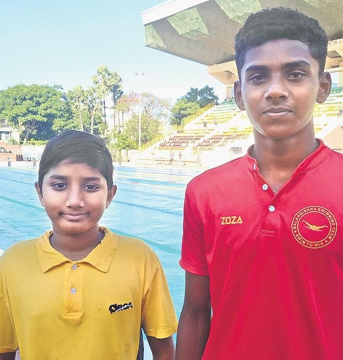 Swimmers Sarvepalli Sai Aditya (L) of ORCA and T Jashua Thomas of Balakrishna MHSS (Tirunelveli)