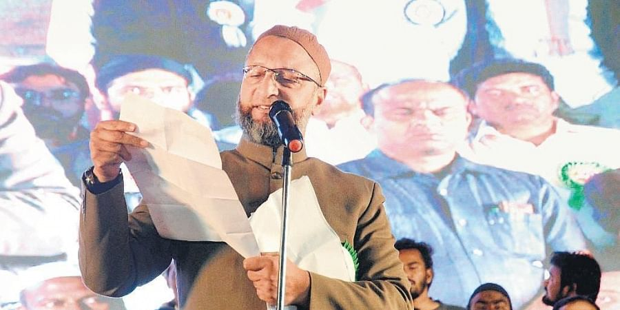 AIMIM chief Asaduddin Owaisi addresses a meeting against CAA and NRC organised  by the United Muslims Action Committee in Nizamabad on Friday