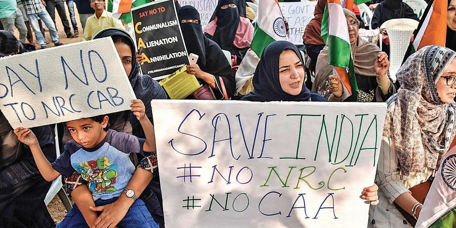 Women protest against CAA, NRC and NPR at Mir Alam Eidgah in Hyderabad on Friday.