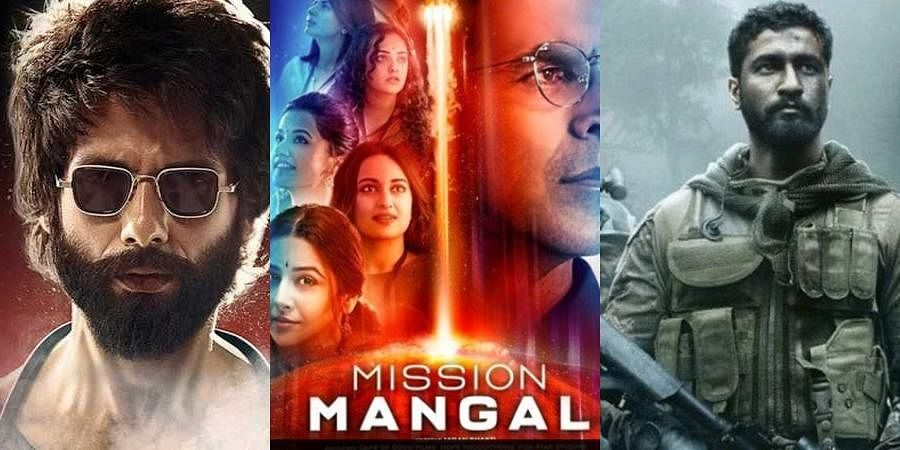 'Kabir Singh','Mission Mangal' and 'Uri: The Surgical Strike' posters.