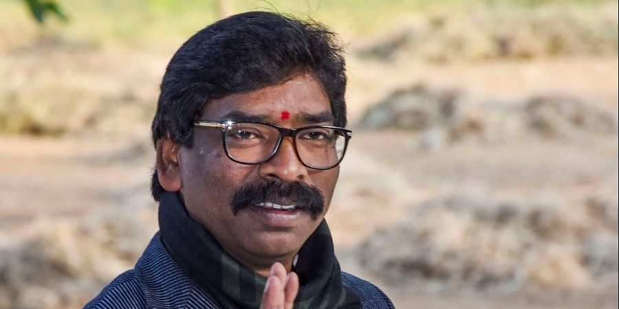 Jharkhand CM-designate Hemant Soren gestures as JMM-Congress alliance lead in the Jharkhand Assembly Election results in Ranchi