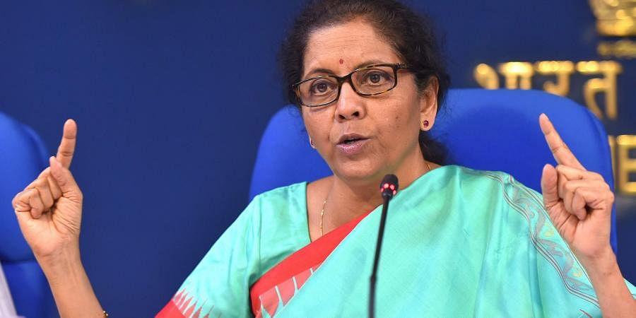 Finance minister Nirmala Sitharaman during a press meet in New Delhi.