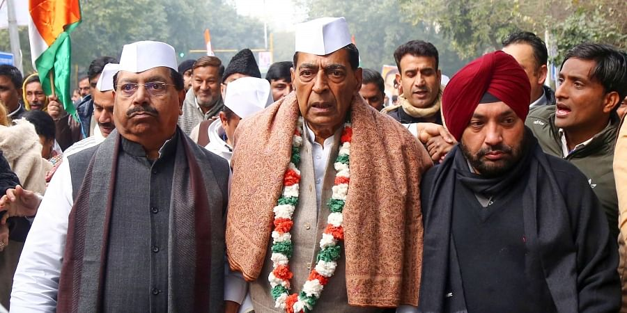 DPCC President Subhash Chopra participates in a march from DPCC office to Saheedi Park on the occassion of 135th foundation day of Indian National Congress INC in New Delhi