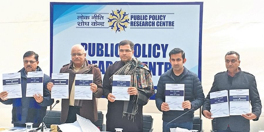 PPRC director Vinay Sahasrabuddhe (second from left) at the launch of the think tank's report on Friday.