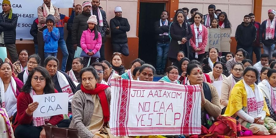 Assamese people take part in a protest against the Citizenship Amendment Act 2019 in Shillong Monday Dec. 16 2019. (Photo | PTI)