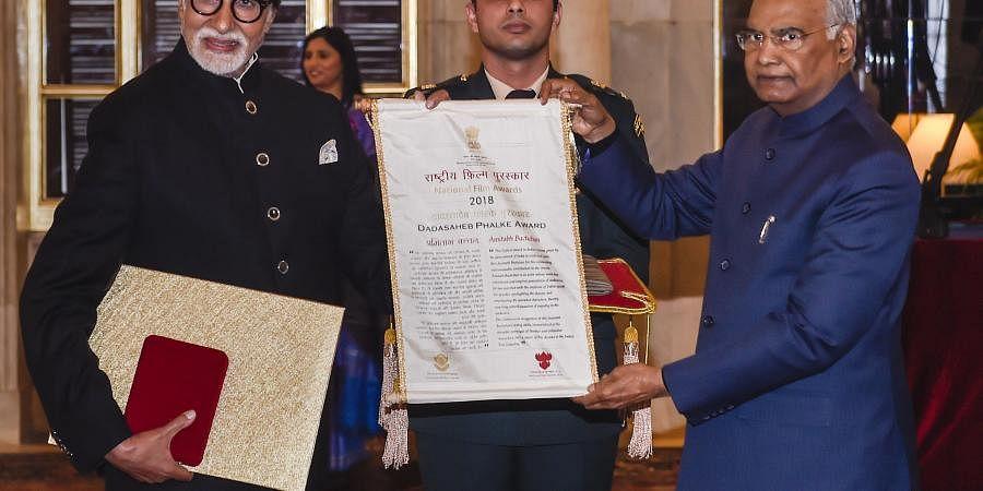 President Ram Nath Kovind presents the Dada Saheb Phalke Award for the year 2018 to veteran Bollywood actor Amitabh Bachchan